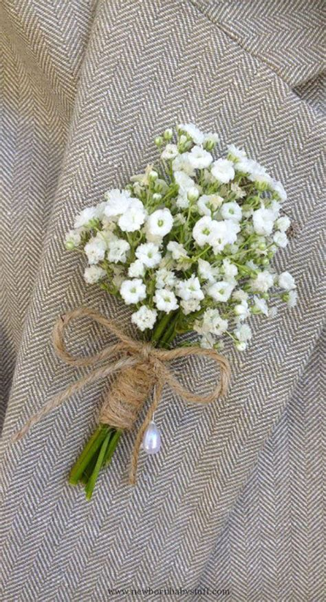 Baby Accessories Baby's breath boutonniere tied with twine