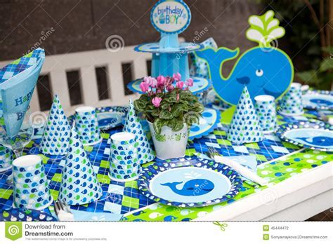 Baby Boy First Birthday Party   Outdoor Table Set Stock Photo   Image: 45444472