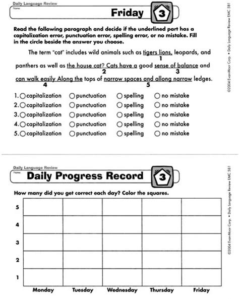 Daily Language Review Grade 5 Worksheets by All Worksheets 187 Daily Language Review Grade 5 Worksheets Printable Worksheets Guide For
