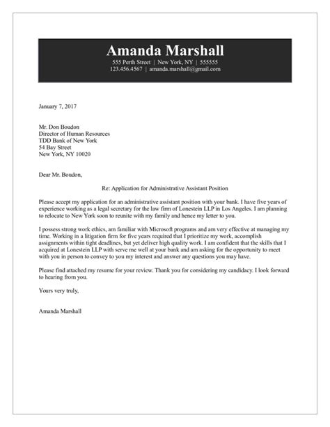 sample cover letter for executive assi templates sample cover letter
