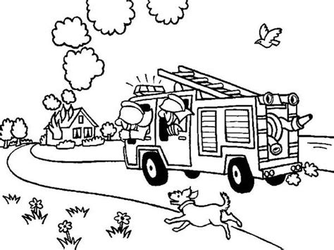 coloring page of house on fire fireman on the way to house on fire coloring page kids