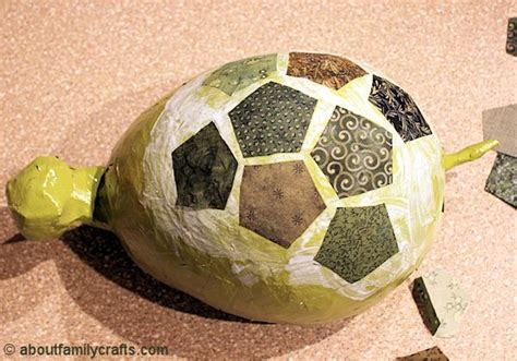 How To Make A Paper Mache Turtle - paper mache patchwork turtle about family crafts