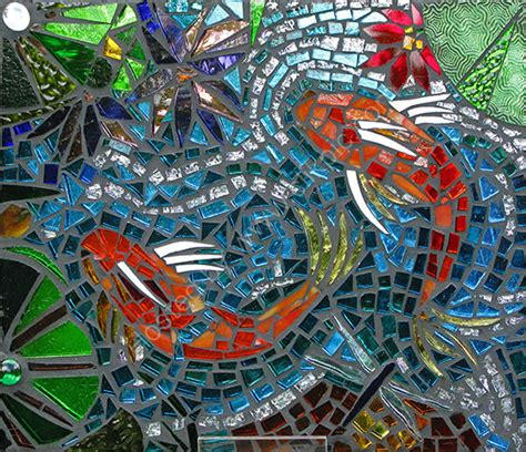 mosaic koi pattern julie routley art koi fish