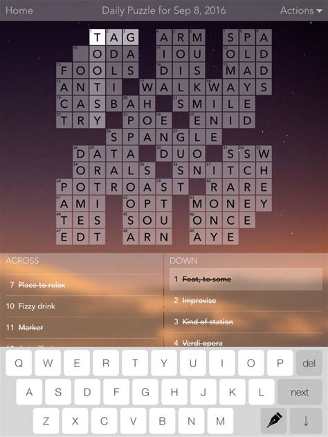 easy crossword puzzles ipad free crossword puzzles screenshot