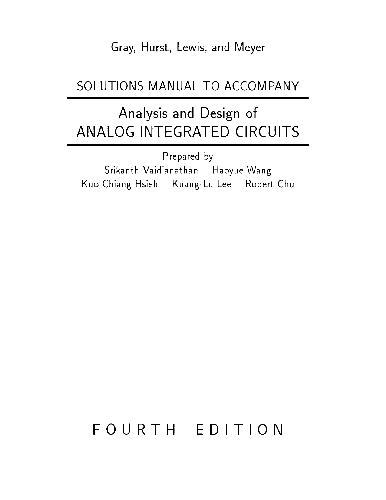 analysis and design of analog integrated circuits by razavi solution manual for analysis and design of analog integrated circuits by paul gray paul hurst