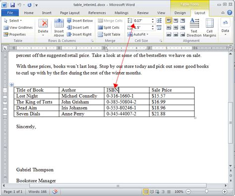 word layout tab word 2010 modifying tables