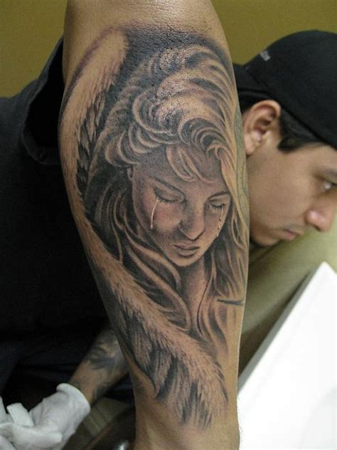 tattoo angel crying bob tyrrells night gallery tattoos portrait