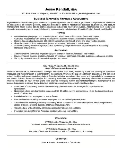 Resume Sles For Accounting And Finance Exle Finance And Accounting Resume Free Sle