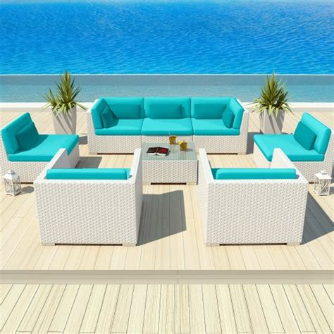 Turquoise Patio Furniture Uduka Outdoor Patio Furniture White Wicker Set Daly 8 Turquoise All Weather Outdoor