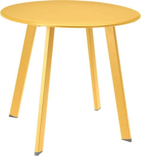 mustard yellow metal tea table garden table outdoor indoor