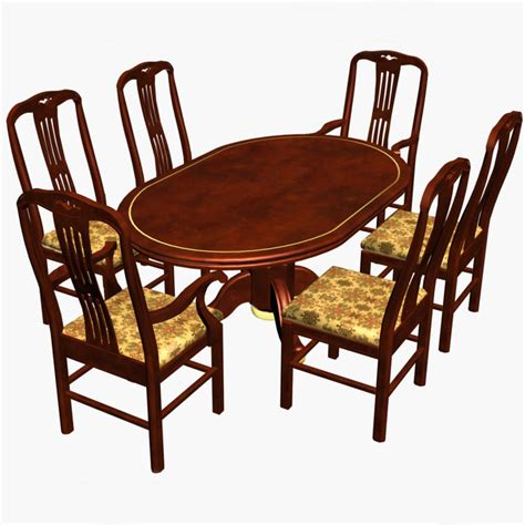 wood dining table chairs models 3d dining chairs wood table