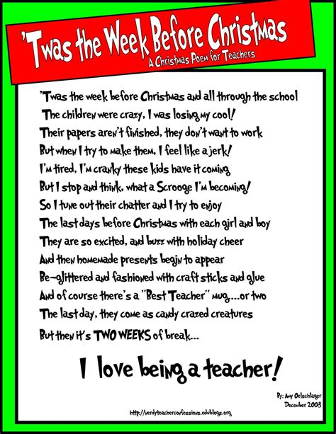 christmas week at school a poem for teachers mostly true stories of k p