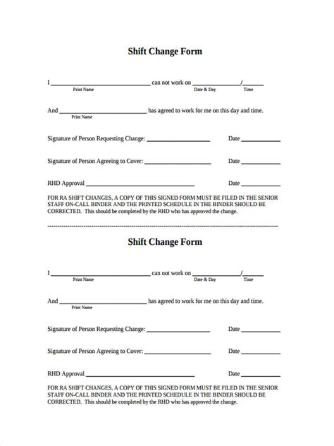 Change Shift by 6 Shift Change Form Sles Free Sle Exle Format