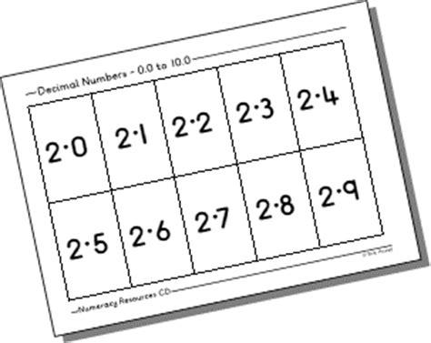 printable decimal number cards decimal number cards