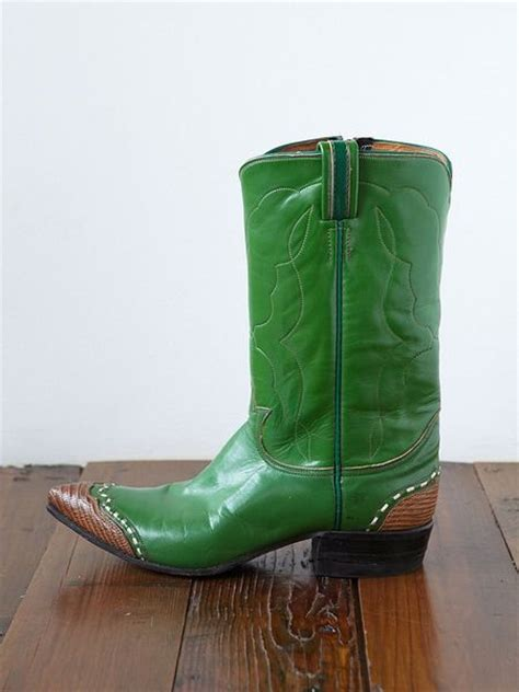 green cowboy boots free vintage cowboy boots in green lyst