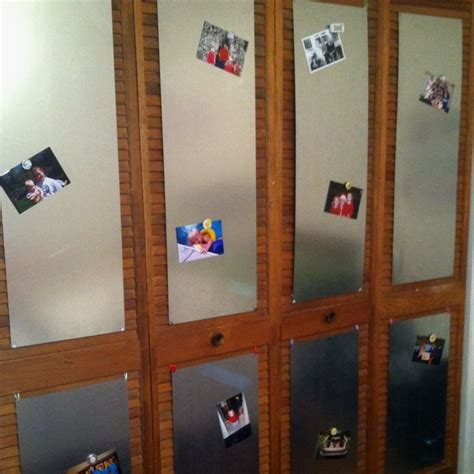 Sheets Of Metal On A Closet Door Used As A Magnet Board Closet Door Magnets
