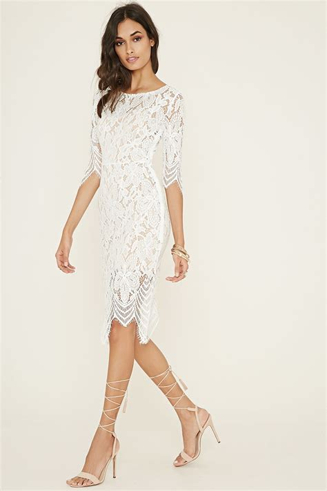 forever back forever 21 cutout back floral lace dress in lyst