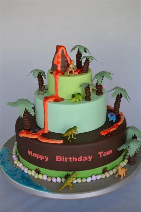 3 Tier Volcano and Dinosaur Bespoke Cake   Celebration