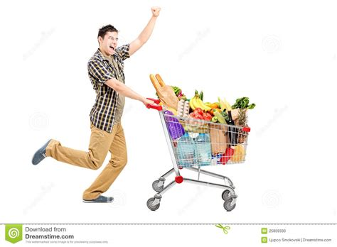 Is Pushing by Happy Pushing A Shopping Cart Stock Photo Image Of