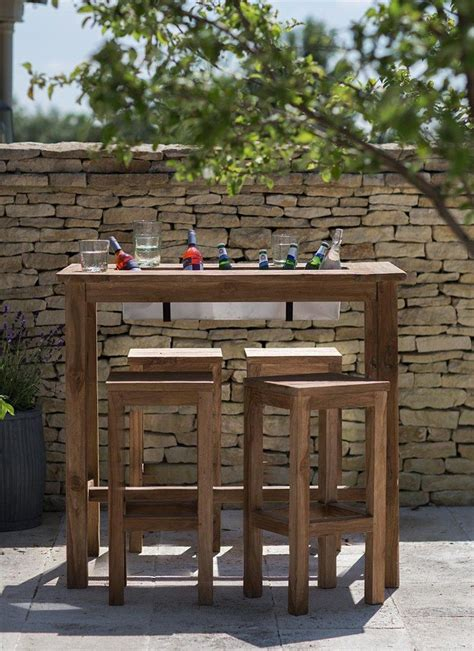 outdoor table and bar stools the outdoor bar table with built in drinks cooler