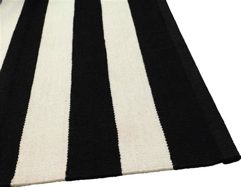 Modern Black And White Rug by Black And White Wool Stripe Modern Rugs Other Metro