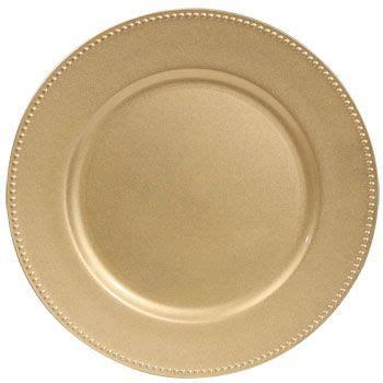 Set Melamin Golden Premium bulk gold plastic charger plates with beaded rims 13 in