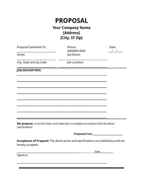 Proposal Template Free Download Create Edit Fill And Print Bid Template Pdf