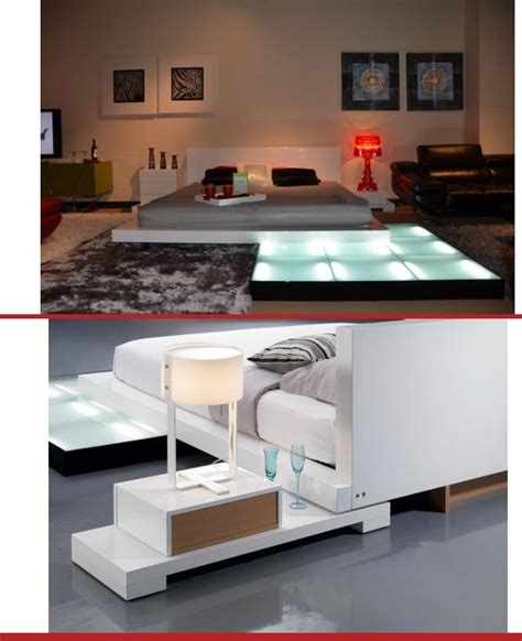platform bed with lights underneath design of this platform bed includes compartments for