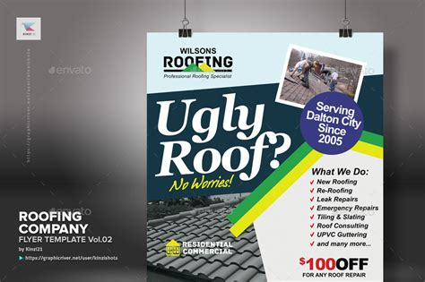 Roofing Company Flyer Template Vol 02 By Kinzishots Graphicriver Roofing Flyer Templates