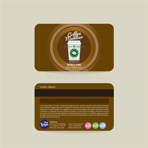 Illustrator Membership Card Template by Front And Back Coffee Shop Member Card Template Stock