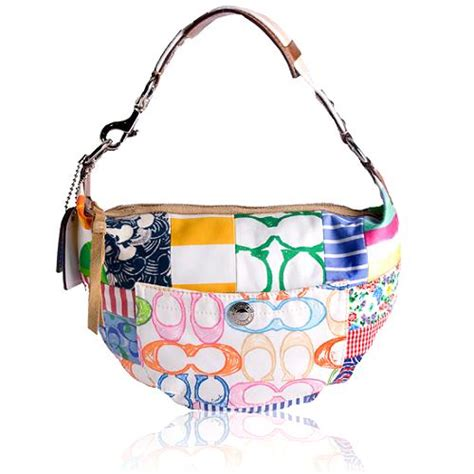 Coach Patchwork Handbag - coach htons weekend patchwork hobo handbag
