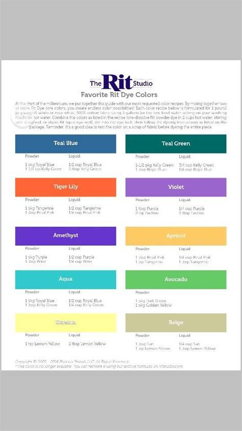 rit color chart rit chart for custom dye colors diy clothing