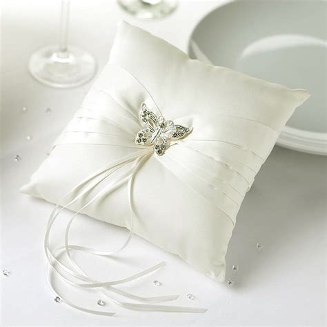 ring cushion elegant butterfly in ivory uk wedding favours