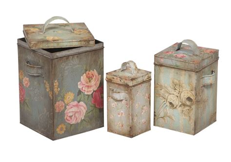 vintage retro flower pattern canister metal tin white timeless classics tin canisters vintage floral patterns
