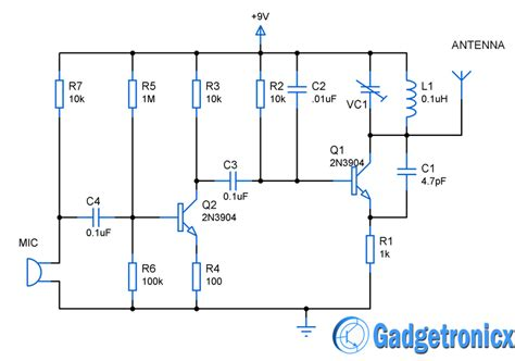 fm transmitter receiver circuit diagram mini fm transmitter circuit gadgetronicx