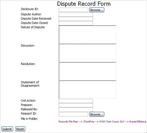 Dispute Record Template A User Interface