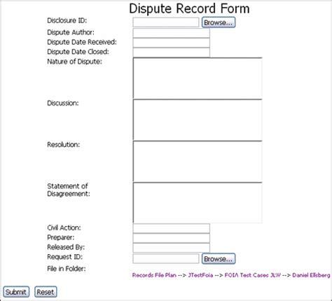 Dispute Resolution Template A User Interface