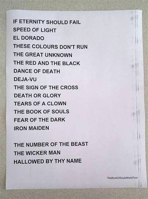 tattoo your name tour setlist this could possibly be the 2016 quot book of souls quot world