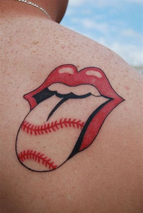 rolling stones tattoo rolling stones logo with baseball laces tattoomagz