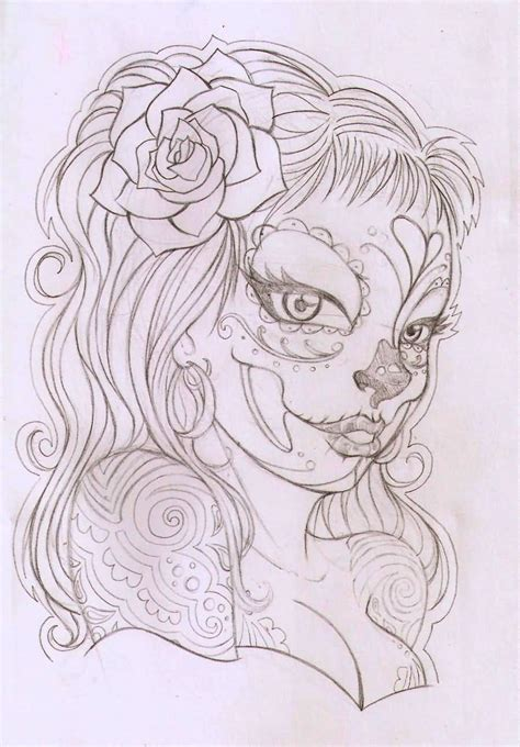 hair tattoo designs stencils attractive catrina and realistic on forearm
