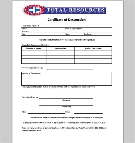 destruction certificate template