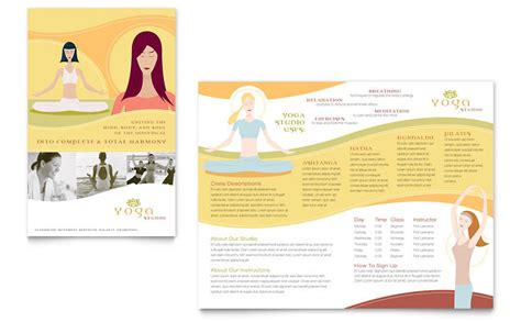 yoga instructor studio brochure template word publisher