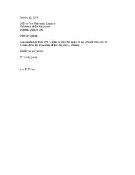 authorization letter for request of transcript of records letter of request for transcript sle authorization