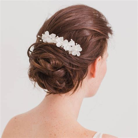 wedding hair comb with chains by britten weddings silk flower comb for a wedding by britten weddings