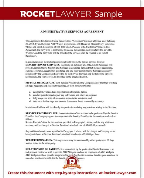 shared service agreement template administrative services agreement contract sle template