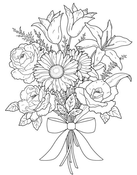 Flower Coloring Pages Adults Mature Colors Flower Bouquet Coloring Pages