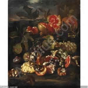 fiori paolo spa natura morta di frutta con melagrane uva funghi e fichi
