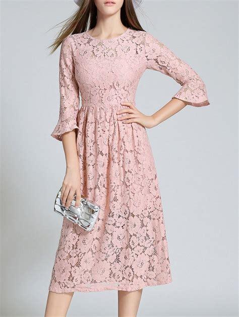 Lace Sleeve Midi Dress lace dresses pink m flare sleeve neck lace midi