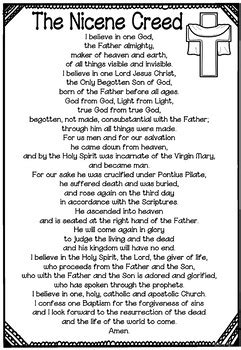 printable version nicene creed nicene creed prayer mini book by ponder and possible tpt