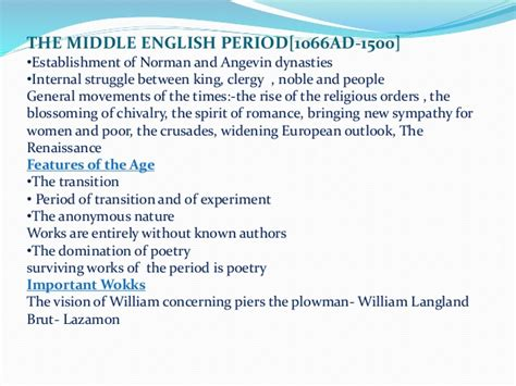english literature the medieval period middle english ages of english literature